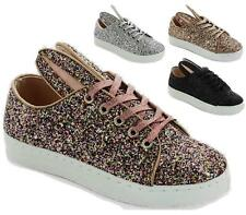 NEW LADIES LACE UP METALLIC GLITTER PUMP SKATER TRAINER FLAT CASUAL SHOES SIZE