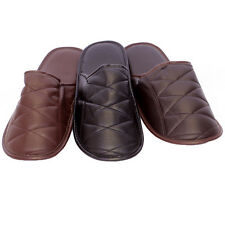 Mens Faux Leather Mule Slippers Leather Look Slipper In 3 Colours