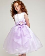 Layered Organza Ruffle Skirt Holiday Christmas Party Flower Girl Dress-Lavender