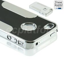 Luxury Brushed Aluminum Back Metal Chrome Hard Case Cover for Apple iphone 4s 4