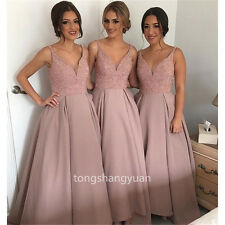V Neck Evening Dresses Crystals Formal Party Bridesmaid Gowns Sexy 2017 Custom