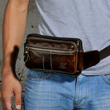 Men Fashion Oil Wax Genuine Leather Vintage Fanny Pack Waist Bag Chest Pouch New