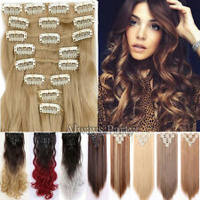 Full Head Clip In Hair Extensions Brown Blonde Real Thick Top Quality Hair Fnc