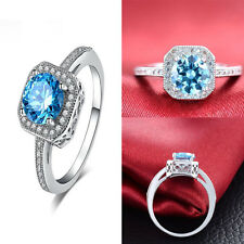 Women 925 Sterling Silver Blue Diamond Engagement Ring Wedding Jewelry Rings