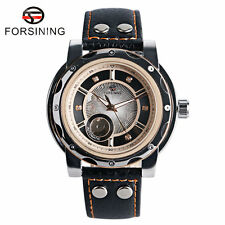 FORSINING Crystal Leather Strap Skeleton Men Automatic Mechanical Wrist Watch