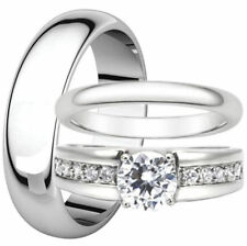 His and Hers Round Cut CZ Stainless Steel Engagement Wedding Ring Match Band Set