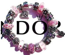 Authentic PANDORA 925 Sterling Silver Bracelet PERFECTLY PINK with Charms AA36