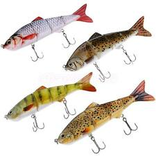 4-Sections Minnow Fishing Sinking Lure 6# Hook Hard Baits Swimbait 4 Colors
