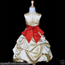 GOLD YELLOW BRIDESMAID PICK-UP QUINCEANERA FLOWER GIRL DRESS 2 4 6 8 10 12 14 16