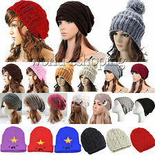 Women Cable Knitted Slouch Beanie Hat Winter Warm Knitted Ski Beret Wool Cap