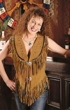 Vipzi Women's NEW Cow Suede Leather Western vest with fringe and bone XS-5XL