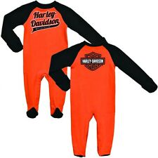Harley-Davidson® Bar & Shield Baby Boys Footed Orange Coverall One-piece 0353130