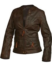 Vipzi New Women's Brown Biker style lambskin/sheep Leather Jacket All size