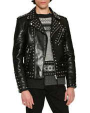 New Mens top brand Black Cowhide Leather Studded Jacket all size