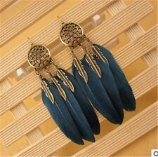 Long 3 Layers Feather Ethnic Bohemian Style Long Feather Drop Earrings for Women