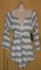 Monamie gray white stripe crochet lace back shrug open tie front tunic top M $68