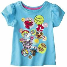 Sesame Street Girls Elmo Zoe Abby Toddler Short Sleeve Graphic Top 4t 5t New Tag