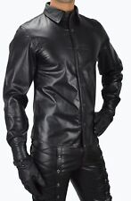 VIPZI MENS REAL BLACK LEATHER SHIRT GAY BLUF FULL SLEEVES ALL SIZE
