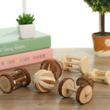 Natural Pine Dumbells Unicycle Bell Roller Chew Toy For Guinea Pig Rat Rabbit 7N