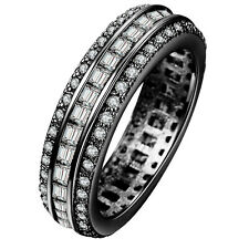 Size 7-10 18kt BLACK Gold Filled WHITE Sapphire CZ Wedding Engagement PARTY Ring