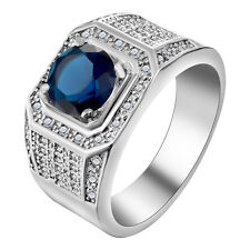 18kt white Gold Filled blue Sapphire CZ Wedding Engagement PARTY Ring Size 7-10