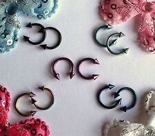 16g 5/16 Titanium Spike Circular Horseshoe Eyebrow Lip Ear Nose Ring 2pc NEW