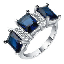 18kt white Gold filled Royal blue sapphire CZ Wedding Engagement Ring Size 7-10