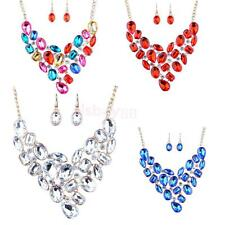 Noble Gold Wedding Bridal Crystal Pendant Necklace Dangle Earring Jewelry Set
