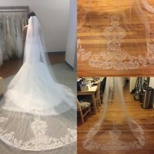 Cathedral Bridal Veils Lace Applique Wedding Veils With Comb White Ivory Newest