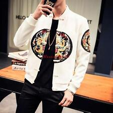 mens Casual embroider Tang style slim button Casual Jackets Coats Sz outwear