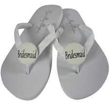 Customizable Flip Flops for Wedding Bridesmaid, Flat White any color