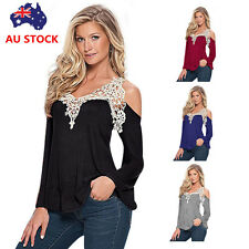 Women Off Shoulder Floral Lace T-Shirt Tops Ladies Casual Long Sleeve Blouse Tee