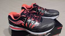 Women's Saucony Hurricane ISO 2 Running Shoes Black/Charcoal /Coral Size 6.5 NEW