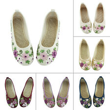 Women Old Beijing Cloth Embroidered Floral Flats Shoes Canvas Slip On Oxfords