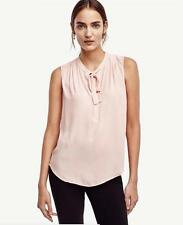 NWT Ann Taylor Sleeveless Pleated Tie Neck Shell $69.50 Pink  NEW