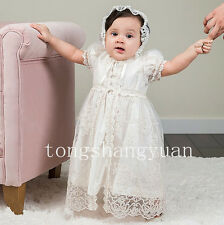 Baby Robe Baptism Outfits Lace Applique White Ivory Infants Christening Gown New