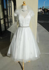 New V-Neck White/Ivory Short Lace Wedding Dress Bridal Gown Size 6-18