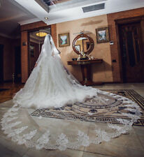 1 Tier White/ivory Bridal Cathedral Veil Lace Edge Bridal Wedding Veil With Comb