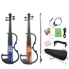 4/4 Full Size Electric Violin Beginners Maple Wood+Cable Earphone Case R6R8