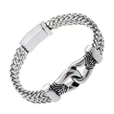 Mens chain bangle cuff bracelet heavy bling jewelry gift for him 002 silver 8.5""