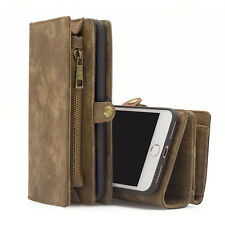 Leather Wallet Cover Case Multifunction Removable Magnetic Flip Case For iPhone