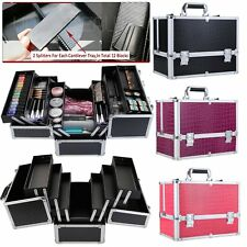 Extra Large Vanity Case Beauty Box Makeup Jewelry Cosmetic Nail Tech Storage New