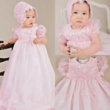 New Baby Pink Baptism Outfits Dress Lace Christening Ball Gown + Bonnet /Shoes