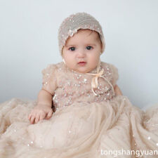 2017 Luxury Baptism Outfit Rhinestone White Ivory Christening Long Dress +Bonnet