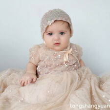 Luxury Baptism Gowns Girls White Ivory Christening Long Dress +Bonnet Champagne