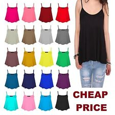 New Womens Sleeveless Short Swing Vest Top Strappy Ladies Plain Cami Size8-26cmS