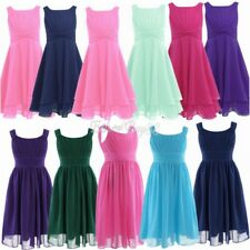 Kids Baby Floral Chiffon Party Princess Prom Pageant Wedding Flower Girl Dresses