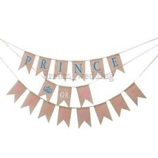 Baby Shower Prince or Princess Hanging Banner Bunting Hessian Party decor