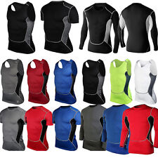 Mens Breathable Compression Base Layer Tank Top Stretch T-shirt Thermal Gym Wear
