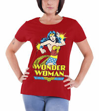 Wonder Woman T Shirt DC Comics Vintage Logo Official Womens New Red Skinny Fit